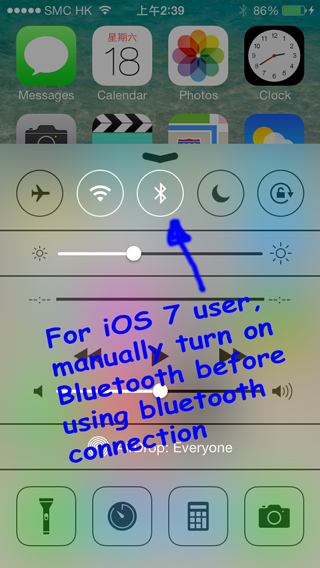 turn on bluetooth for iOS 7