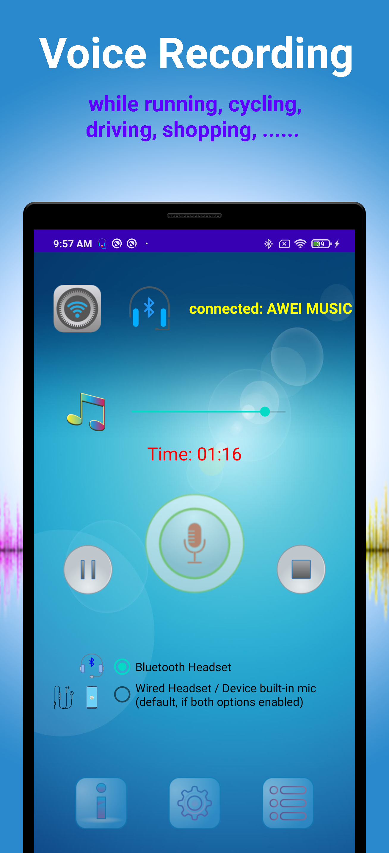 Bluetooth Headset Voice Recorder Play Store screen 1